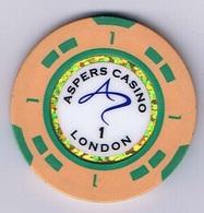 Casino Chip Fiche 1£ Aspers Casino London - Casino