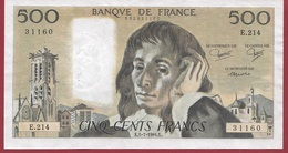 "500 Francs ""Pascal"" Du 05/07/1984.K --VF/SUP---ALPH.E.214 - 1962-1997 ''Francs''"