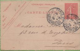 Entier Type SEMEUSE Lignée 10c 129-CL1 Date 536 PARIS-37 à PARIS 20/04/06 - Letter Cards