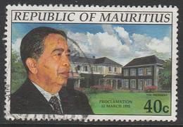 Mauritius 1992 Proclamation Of Republic 40 C Multicoloured SW 757 O Used - Mauritius (1968-...)