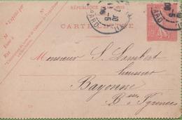 Entier Type SEMEUSE Lignée 10c 129-CL1 Date 538 PARIS-XII à BAYONNE 28/05/06 - Letter Cards