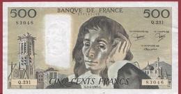"""500 Francs """"Pascal"""" Du 03/04/1985.G --VG/TTB---ALPH.Q.231 (BILLET SCOTCHE A L ARRIERE ) - 1962-1997 ''Francs''"""