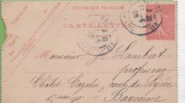 Entier Type SEMEUSE Lignée 10c 129-CL1 Date 538 PARIS-XII à BAYONNE 11/05/06 - Letter Cards