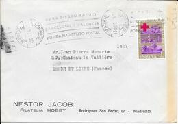 ESPAGNE -  TIMBRE CROIX ROUGE    CACHET MADRID CAMBIO -  1969-  LETTRE   POUR LA FRANCE - 1961-70 Briefe U. Dokumente