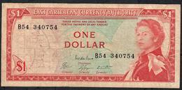 E.C.T. P13c8 1 DOLLAR 1965  #B54 Signature 8 Issued 1974  VF  NO P.h. - East Carribeans