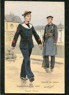 CPA - Illustration Maurice Toussaint - Quartier Maître En Caban - Matelot En Capote - Tenues D'hiver - Warships
