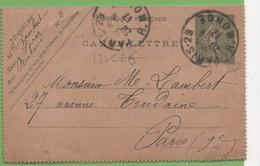 Entier Type SEMEUSE Lignée 10c 130-CL6 Date 725 PARIS-29 à PARIS 20/09/17 - Letter Cards