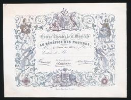 PORSELEINKAART 14 X 11 CM - SOIREE THEATRALE ET MUSICALE AU BENEFICE DES PAUVRES 27 JAN 1841 - Faire-part