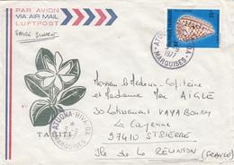 POLYNESIE FRANCAISE ENV ILLUSTREE TAHITI 1977  ATUONA - HIVA ILES MARQUISES SUR LETTRE AVION - Polynésie Française