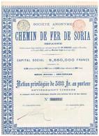 Titre Ancien - Société Anonyme Du Chemin De Fer De Soria - Espagne  -Titre De 1893 - VF - Spoorwegen En Trams