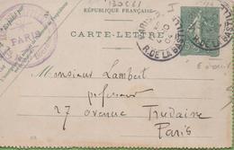 Entier Type SEMEUSE Lignée 10c 130-CL1 Date 405 PARIS-2 à PARIS 4/10/04 - Letter Cards