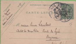 Entier Type SEMEUSE Lignée 10c 130-CL2 Date 550 PARIS-25 à BAYONNE - Letter Cards