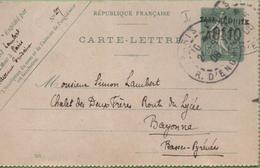 Entier Type SEMEUSE Lignée 10c 130-CL2 Date 505 PARIS à BAYONNE 24/06/06 - Letter Cards