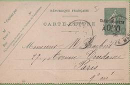 Entier Type SEMEUSE Lignée 10c 130-CL2 Date 530 PARIS à PARIS 1/06/06 - Letter Cards