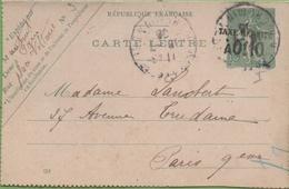 Entier Type SEMEUSE Lignée 10c 130-CL2 Date 551 PARIS - Letter Cards