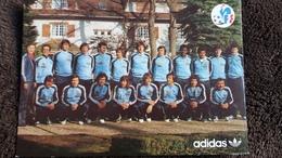 CPSM  EQUIPE DE FRANCE DE FOOTBALL MATCH FRANCE LUXEMBOURG 25 02 1979 NOMS DES JOUEURS ADIDAS - Calcio