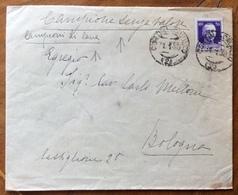 AMBULANTE CORTINA CALALZO (2) 31/1/30 SU CAMPIONE SENZA VALORE BUSTA CON CAMPIONI DI LANA  PER BOLOGNA - 1900-44 Vittorio Emanuele III
