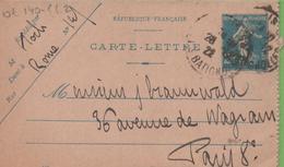Entier Type SEMEUSE Camée 25c Bleu 140-CL2 Date 149 PARIS 1922 - Letter Cards