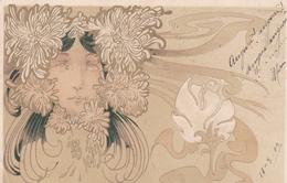 Liberty  ,  Viso Di Donna Fra I Fiori - 1900-1949