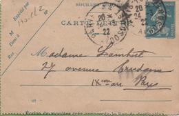 Entier Type SEMEUSE Camée 25c Bleu 140-CL2 Date 137 PARIS 24/03/22 - Letter Cards