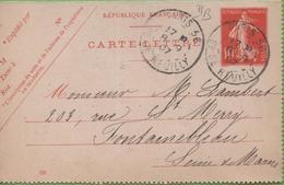 Entier Type SEMEUSE Camée 10c Rouge  135-CL3 Date 705 PARIS-56 Pour FONTAINEBLEAU 8/09/07 - Letter Cards
