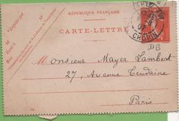 Entier Type SEMEUSE Camée 10c Rouge  135-CL3 Date 708 PARIS-XVI Pour PARIS 6/08/07 - Letter Cards