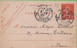 Entier Type SEMEUSE Camée 10c Rouge  135-CL3 Date 708 PARIS-XVI Pour PARIS 9/07/07 - Postal Stamped Stationery