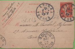 Entier Type SEMEUSE Camée 10c Rouge  135-CL3 Date 701 EPINAL Pour PARIS 5/05/07 - Letter Cards