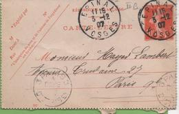 Entier Type SEMEUSE Camée 10c Rouge  135-CL3 Date 701 EPINAL Pour PARIS 3/12/07 - Letter Cards