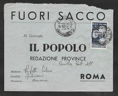 1950 FUORI SACCO IL POPOLO FABRIANO - ROMA PIONIERI INDUSTRIA LANIERA ITALIANA - 1946-60: Storia Postale