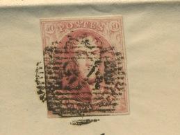 Lettre Cie D'Assurance Avec 40c  N°8.   1854 - Bélgica