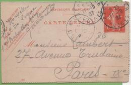 Entier Type SEMEUSE Camée 10c Rouge  135-CL3 Date 707  GERARDMER Pour PARIS 11/10/07 - Letter Cards