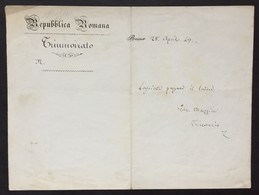 Giuseppe MAZZINI - Patriota- Rara Lettera Autografa Firmata Della Repubblica Romana - Lettre Autographe Signée - Autografi