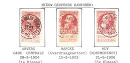 REF70/ TP 74 C.Relais-Etoile Marcke 8/JUIL/5-6/1907 - C.Anvers(Gare Centrale) 24/SEPT/21-22/1908 - C.Huy (R.Montmorency) - 1905 Grosse Barbe
