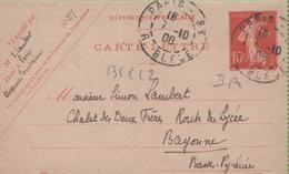 Entier Type SEMEUSE Camée 10c Rouge  135-CL2 Date 636 PARIS à BAYONNE 7/10/06 - Letter Cards