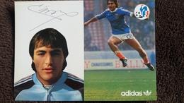 CPSM  JOUEUR EQUIPE DE FRANCE DE FOOTBALL LARIOS JEAN FRANCOIS MILIEU DE TERRAIN    FF ADIDAS SIGNATURE IMPRIMEE - Soccer