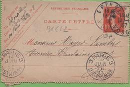 Entier Type SEMEUSE Camée 10c Rouge  135-CL2 Date 645 EPINAL à PARIS 13/06/07 - Letter Cards