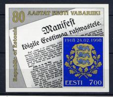 ESTONIE EESTI 1998, 80e Anniversaire République, 1 Bloc, Neuf / Mint. R107 - Estonia