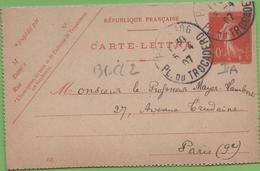 Entier Type SEMEUSE Camée 10c Rouge  135-CL2 Date 645 PARIS-106 à PARIS 5/04/07 - Letter Cards