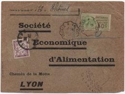 Timbre Fiscal Non Valable = O  Oblitération Cachet Convoyeur THONES à ANNECY 1925 TAXE Banderole 50c LYON Rhône - Segnatasse