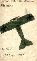 Guerre 14 18 : Repro D'une Carte Faite D'une Gouache Peinte Sur La Toile D'un Avion Allemand Abattu Le 21 Avril 1917 - Guerre 1914-18