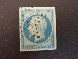 FRANCE, Année 1853-60, YT N° 14Af Bleu Laiteux, Oblitéré (cote 15 EUR) - 1853-1860 Napoleon III
