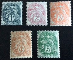 N° 107/108/109/110/111  NEUF ** SANS CHARNIÈRE ( LOT:17 ) - 1900-29 Blanc