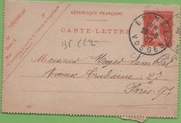 Entier Type SEMEUSE Camée 10c Rouge  135-CL2 Date 645 EPINAL à PARIS 28/08/07 - Postal Stamped Stationery