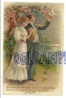 Couple Au Clair De Lune, Arbre En Fleur. 19??. Gaufrée - Couples