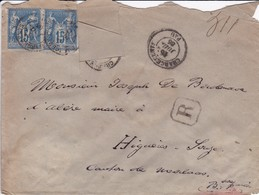 Lettres R  De Pau  (Pyrénnées Atlantique  ) Pour Canton De Morlaas  1885   Yvert 90 LAC - 1877-1920: Période Semi Moderne