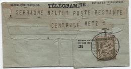 Télégramme Taxe Poste Restante Banderole 20c Oblitération Cachet METZ-CENTRAL T.T. 1923 (TB Mais éclats D'ouverture) - Strafport
