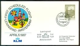 USSR 1987 Cover First Scheduled KLM Flight Leningrad - Amsterdam VH A 1081 - 1923-1991 URSS