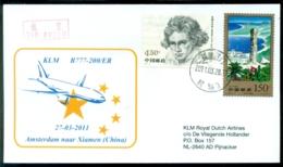 China 2011 Cover First Flight KLM B777-200ER Xiamen - Amsterdam VH A 1257 - Poste Aérienne
