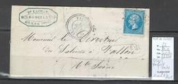 France -  Lettre - Yvert 22 - GC4115 - VAUFRET - Doubs - Type 22 + OR IDENTIFIE DE GLERE - Marcophilie (Lettres)